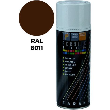 PINTURA SPRAY MARRON NUEZ RAL 8011 ACRILICO 400ML.