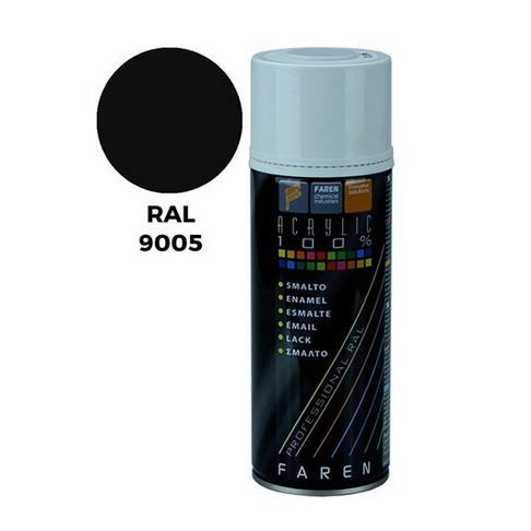PINTURA SPRAY NEGRO BRILLANTE RAL 9005 ACRILICO 400ML.